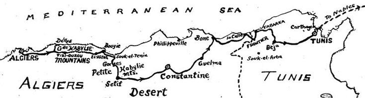 χάρτης διαδρομής κατά μήκος της Β. Αφρικής, σήμερα αυτή η διαδρομή δεν είναι εφικτή