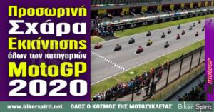 Προσωρινές σχάρες οδηγών όλων των κατηγοριών για το Παγκόσμιο Πρωτάθλημα MotoGP του 2020