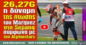 26,27G ήταν η δύναμη της πτώση του Marquez στο Sepang σύμφωνα με την Alpinestars