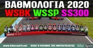 ΒΑΘΜΟΛΟΓΙΑ WSBK -WSSP – SS300 για το 2020