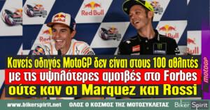 Κανείς οδηγός MotoGP δεν είναι στους 100 αθλητές με τις υψηλότερες αμοιβές στο Forbes ούτε καν οι Marquez και Rossi