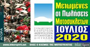 Μειωμένη η αγορά μοτοσυκλέτας και τον Ιούλιο 2020 λόγω κρίσης του κορωνοϊού