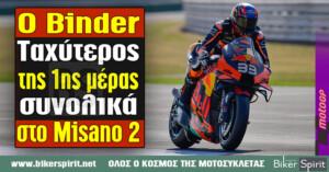 Ο Brad Binder, ταχύτερος της πρώτης ημέρας συνολικά στο Misano 2